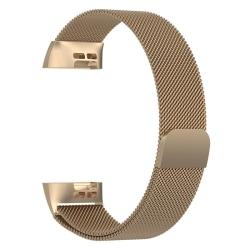 Milanese loop armband kompatibelt med Fitbit Charge 3 Champagne, Champagne Champagne, S