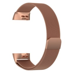 Milanese loop armband kompatibelt med Fitbit Charge 3 Rosé, S PinkGold one size