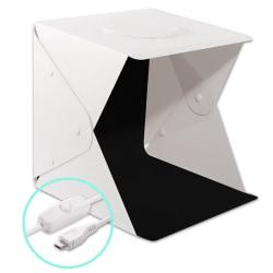 Portabel Fotostudio med USB-driven LED Belysning Vit