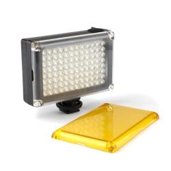 Portabel LED Kameralampa med 2x Färgfilter Svart