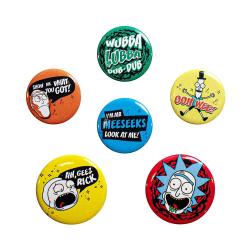 Rick and Morty, 6x Pins - Mix multifärg