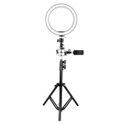 Selfie-lampa/Ring light (26 cm), stativ och fästen Svart