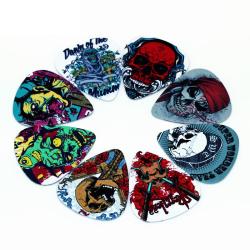 Skull Plektrum i 10-pack - Gitarrtillbehör multifärg