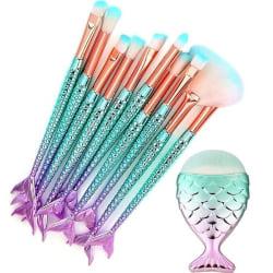Sminkborstset 11 borstar - Mermaid multifärg