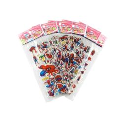 Spider-Man-klistermärken i 3D - 6 ark (cirka 72 st) multifärg