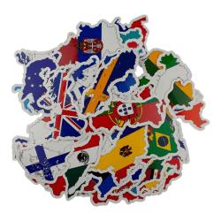 Storpack Klistermärken och Dekaler - Länder multifärg