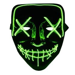 The Purge LED Neon Mask, Halloween - Grön Multifärg
