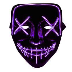 The Purge LED Neon Mask, Halloween - Lila Multifärg
