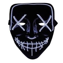 The Purge LED Neon Mask, Halloween - Vit Multifärg