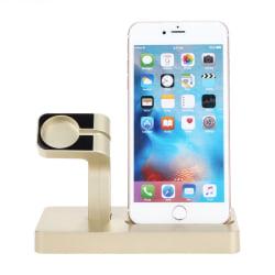 USB Laddningsställ för Apple Watch och iPhone - Guld Guld