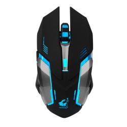 X7 Trådlös Gaming Mus i Battletech Design med LED-belysning Svart