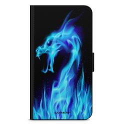 Bjornberry Plånboksfodral iPhone 4/4s - Blå Flames Dragon