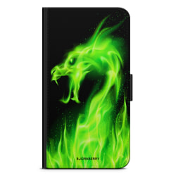 Bjornberry Plånboksfodral iPhone 5C - Grön Flames Dragon
