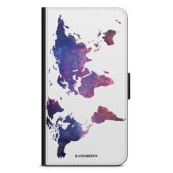 Bjornberry Plånboksfodral Moto G5 Plus - Världkarta Rymd
