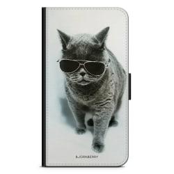Bjornberry Plånboksfodral Sony Xperia 5 - Katt Glasögon