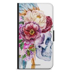 Bjornberry Plånboksfodral Sony Xperia XA1 - Dödskalle Blommor