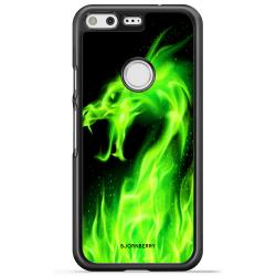 Bjornberry Skal Google Pixel - Grön Flames Dragon