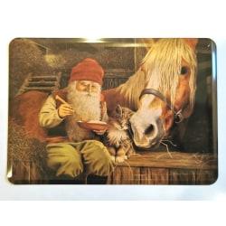 Julkort i metall - klassiskt Tomte