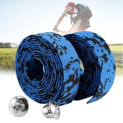 2 Cycling Road Bike Handlebar Grip Wrap Tape + 2 Bar Plugs(B blue+black