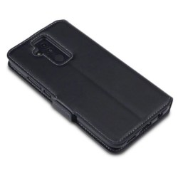 Mobilväska Huawei Mate 20 LITE Svart Slim Äkta Läder