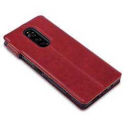 Sony Xperia 1 Plånboksfodral Röd Slim Äkta Läder