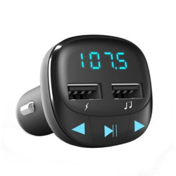 Bluetooth FM Sändare med USB-uttag för Bil Svart
