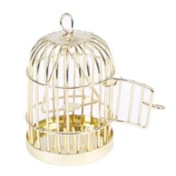 Fågelbur Bur för Fåglar 1:12 - Dockskåp / Dockhus Guld
