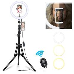 Selfie Lampa LED Ring Light / Stativ 50 - 185 cm / Fjärrkontroll Svart
