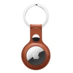 Apple AirTag Läderskal Med Nyckelring Brun