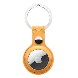 Apple AirTag Läderskal Med Nyckelring Gul