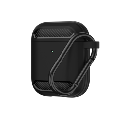 Carbon Fiber Silicone Case Apple AirPods Black