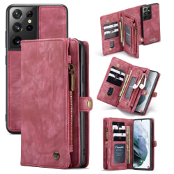 CaseMe Plånboksfodral Multi-Slot Samsung Galaxy S21 Ultra Röd