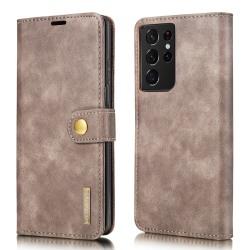 DG.MING 2-in-1 Magnet Wallet Samsung Galaxy S21 Ultra Brown