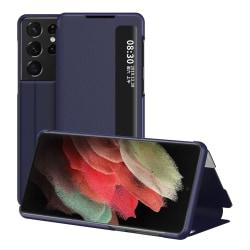 Flip Fodral Med Display Samsung Galaxy S21 Ultra Blå