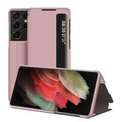 Flip Fodral Med Display Samsung Galaxy S21 Ultra Rosa