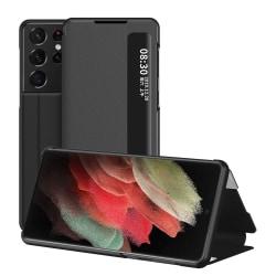 Flip Fodral Med Display Samsung Galaxy S21 Ultra Svart