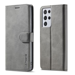 LC.IMEEKE Plånboksfodral Samsung Galaxy S21 Ultra Grå