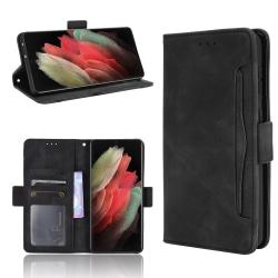 Multi Slot Plånboksfodral Samsung Galaxy S21 Ultra Svart
