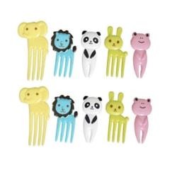 10 pack minigafflar plockemat barnbestick barn äta gaffel djur  många färger