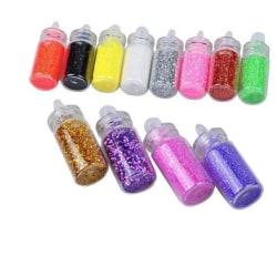 12-pack glitterflaskor nageldekor naglar dekoration fest glitter Blandat med färger