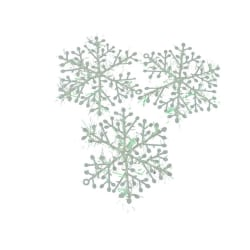 15 pack snöflingor, vita glitter jul dekoration pynt gran  Vit / silver