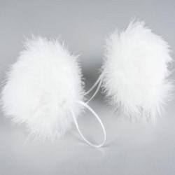 2 pack fjäderboll, 10 cm vit
