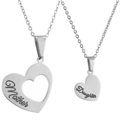 2 pack halsband med texten mother daughter silver