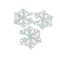 9 st snöflingor, vita glitter jul dekoration pynt gran fönster  vit med glitter