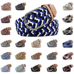Bälte canvas 23 mönster storlek W26-W36 stretch justerbar längd 14 Mörkblå / ljusblå / vit