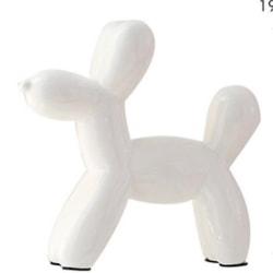 Exklusiv sparbössa vit hund i porslin vit