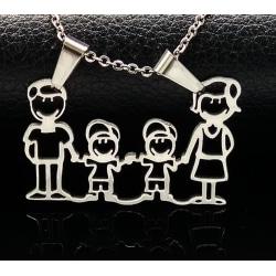 Familjeberlock 2 pojkar med kedja halsband present gåva julklapp silver