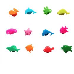 Glasmarkörer 12 pack djur i olika färger flerfärgad