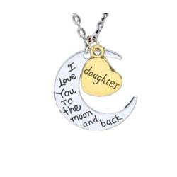 Halsband, hjärta och måne daughter smycke present