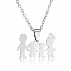 Halsband med berlock figurer familj dotter son smycke silver